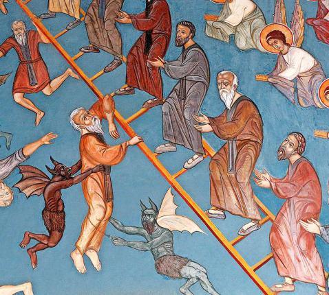 Fresco in een kerk op Cyprus: duivels proberen mensen van de ladder te trekken. © Belga Image