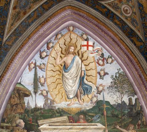 Resurrezione (Verrijzenis), fresco in de Sala dei Misteri van de Musei Vaticani © Musei Vaticani