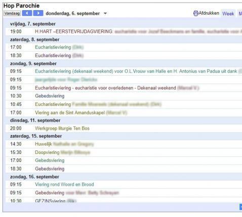 De digitale agenda van de HopParochie (Aalst)