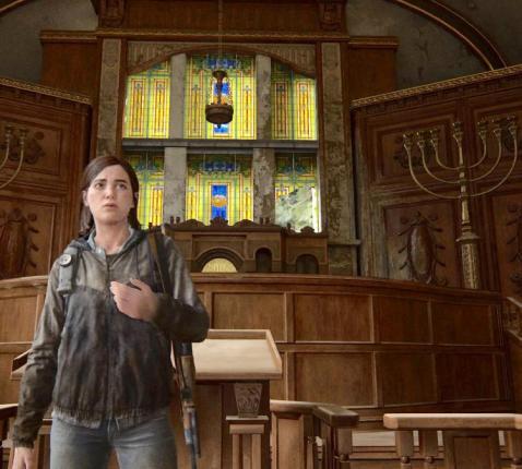 In het populaire game The Last of Us Part II krijgt het hoofdpersonage 20 minuten uitleg over het jodendom in een vervallen synagoge  © LL/Tertio