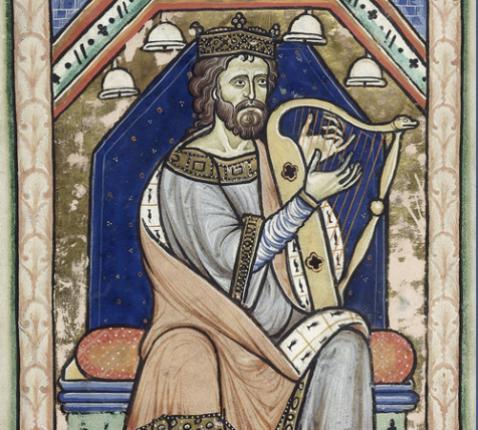 Westminster_Psalter_ David speelt harp. Wikimedia Commens © Westminster_Psalter_ David speelt harp. Wikimedia Commens