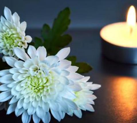 Herdenking met bloem en kaars © Dreamstime