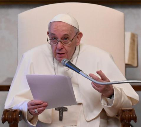 Paus Franciscus tijdens de audiëntie van gisteren © Vatican Media
