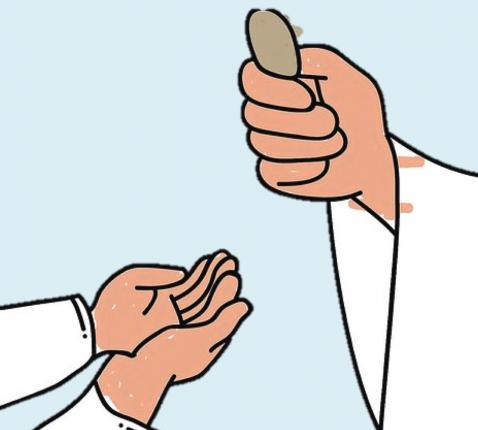 Om de hostie te ontvangen, leg je de linkerhand in de rechter. (Uit: 'Met Jezus aan tafel', Halewijn) © Halewijn / Aagje Van Impe