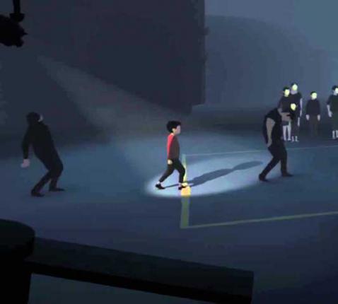 Schermafbeelding van het videospel INSIDE. Jij bent het jongetje met rode trui en moet zien te ontsnappen ... maar waaraan?