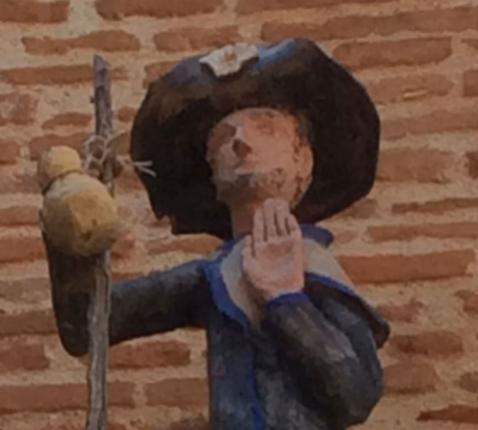 Jacobusbeeldje in Auvillar, Frankrijk.
