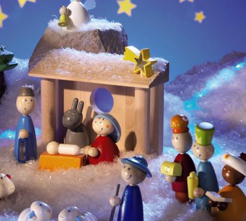 Kerststal met poppetjes