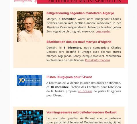 Nieuwsbrief aartsbisdom Mechelen-Brussel © rr