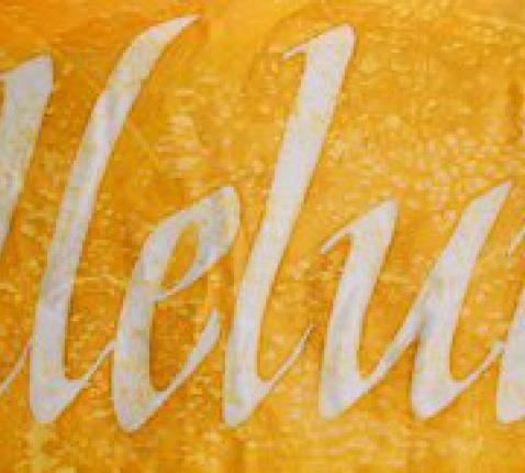Hemelse lofzang © ©2013 Kristen Gilje Detail, St. Ignatius Alleluia, silk dye on silk, 13 feet by 30 inches, calligraphy designed by Laura Norton.