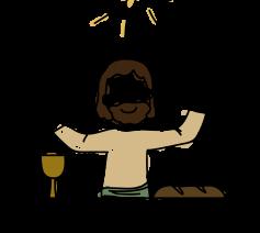 Jezus viert de eucharistie met de apostelen, zijn vrienden én met ons!  © Aagje van Impe, ICL, Met Jezus aan tafel in de eucharistie, kindermissaal