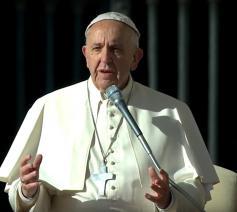 Paus Franciscus tijdens de algemene audiëntie op woensdag 16 november © CTV