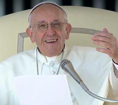 Paus Franciscus tijdens de algemene audiëntie © CTV