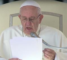 Paus Franciscus tijdens de algemene audiëntie van woensdag 11 oktober 2017 © CTV