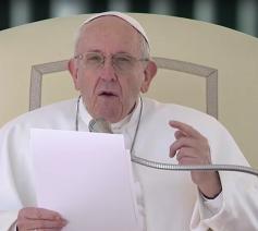 Paus Franciscus tijdens zijn catechese op de algemene audiëntie van woensdag 14 maart 2018 © Vatican News