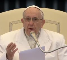 Paus Franciscus tijdens zijn catechese op de algemene audiëntie van woensdag 4 april 2018 © Vatican News