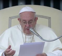Paus Franciscus tijdens zijn catechese op de algemene audiëntie van woensdag 18 april 2018 © Vatican News