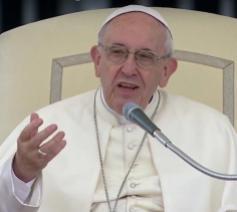 Paus Franciscus tijdens zijn catechese op de algemene audiëntie van woensdag 23 mei 2018 © Vatican Media