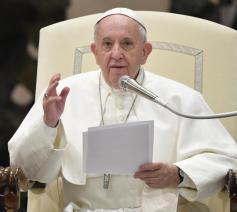 Paus Franciscus tijdens de algemene audiëntie van woensdag 22 januari 2020
