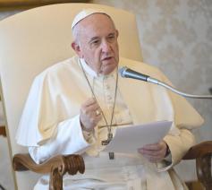 Paus Franciscus tijdens de algemene audiëntie van woensdag 18 maart 2020 © VaticanMedia