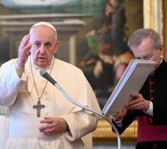 Paus Franciscus tijdens de algemene audiëntie van woensdag 7 april 2021 © VaticanMedia