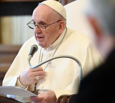 Paus Franciscus tijdens de algemene audiëntie van woensdag 14 april 2021 © VaticanMedia