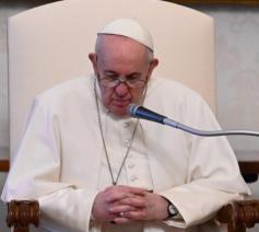 Paus Franciscus tijdens de algemene audiëntie van woensdag 28 april 2021 © VaticanMedia