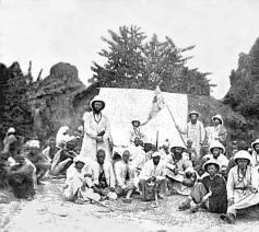 Repro van een beeld uit 1878. © rr