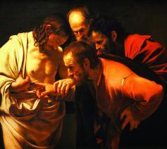 Waar was Thomas eigenlijk toen Christus zich een eerste keer toonde? Schilderij: Caravaggio, De ongelovige Thomas, 1602-03)  © Wikimedia