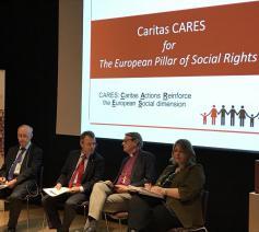 Allan Larsson, Jorge Nuño Mayer van Caritas Europa, bisschop Eckerdal en Heather Roy van Eurodiaconia © Caritas Europa