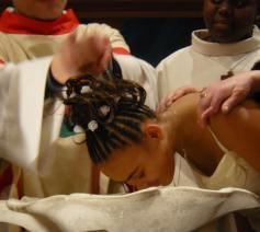 Een catechumene wordt geoopt