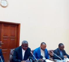 Donatien Nshole stelde tijdens een persconferentie de oproep van de Congolese bisschoppen voor eerlijke verkiezingsresultaten voor © CENCO
