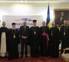 De delegatie  van de Europese kerken bij de Roemeense minister van BZ © Comece