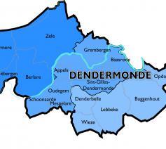Kaart Dekenaat Dendermonde © Bisdom Gent