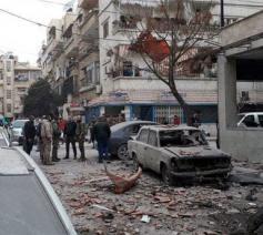 De impact van een granaatbeschieting in Damascus © Caritas International