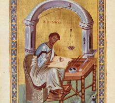De evangelist Lucas, Byzantijns miniatuur uit de 10de eeuw © British Library