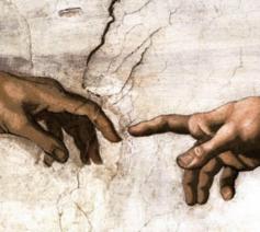 Michelangelo, De schepping van Adam (detail)