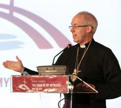 De anglicaanse aartsbisschop van Canterbury Justin Welby op de algemene vergadering van de Conferentie van Europese Kerken in Novi Sad  © Albin Hillert/CEC