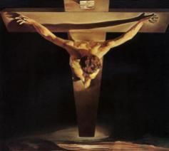 De Gekruisigde roept volgens Maurice Bellet de gelovige op verder te gaan dan wie ook, waardoor ware menselijkheid mogelijk wordt (schilderij: Salvator Dalí, De Christus van de heilige Johannes van het Kruis, 1951)  © RR