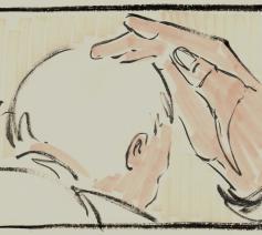 Handoplegging bisschopswijding © Kerknet, tekening: Koen Van Loocke