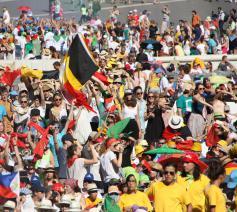Enthousiaste Belgische misdienaars tijdens de Romebedevaart in 2015