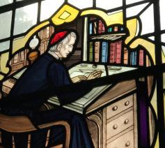 Glasraam van John Henry Newman in de katholieke Sint-Jozefskerk van Leeds © RR