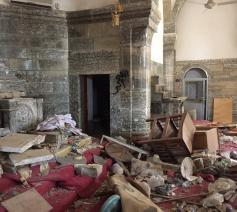 De Chaldeeuwse kerk van Batnaya, na de doortocht van IS © Kerk in Nood
