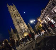 Torenverlichting Sint-Baafs op persmoment © Bisdom Gent, foto: Frank Bahnmüller
