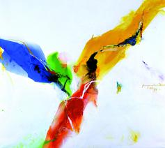 De heilige Geest van Kim En Joong, geboren in Korea in 1940. Hij studeert kunst in Seoul en wordt christen. Later treedt hij in bij de dominicanen. Hij woont en werkt in Parijs. © Halewijn