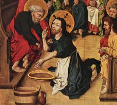 Christus wast de voeten van de apostelen (1475), Meister des Hausbuches © Gemäldegalerie Berlijn