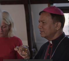 Aartsbisschop Sebastian Francis Shaw van Lahore in Pakistan ontmoet de voorzitter van de Pakistaanse moskee in Antwerpen.