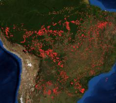 De brandhaarden in Brazilië, gefotografeerd door een ruimtesatelliet op 23 augustus © Nasa