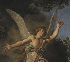 De engel Raphael neemt afscheid van de oude Tobias en zijn zoon Tobit (1618), Pieter Lastman, Statens kunstmuseum Kopenhagen