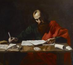 Paulus schrijft zijn brieven. Schilderij toegeschreven aan Sint-Valentijn van Boulogne