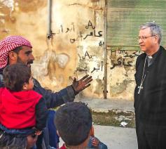 Mgr. Bonny is onder de indruk van de verwoesting in Aleppo.  © Bisdom Antwerpen